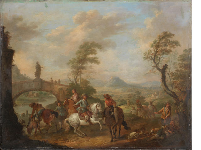 Carel van Falens (Antwerp 1683-1733 Paris) Figures on horseback by a river, an open landscape beyond