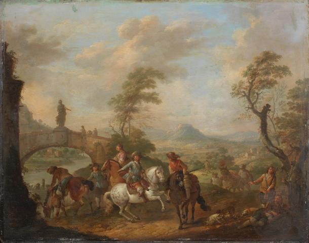 Carel van Falens (Antwerp 1683-1733 Paris) Figures on horseback by a river, an open landscape beyond