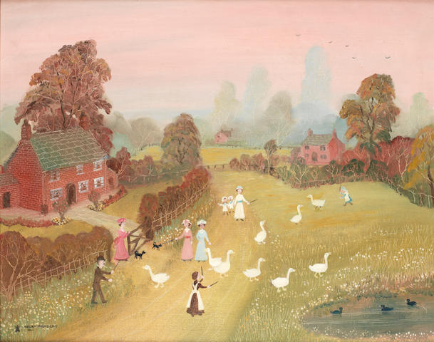 Helen Bradley 'Going for a walk before bedtime' - oil on board