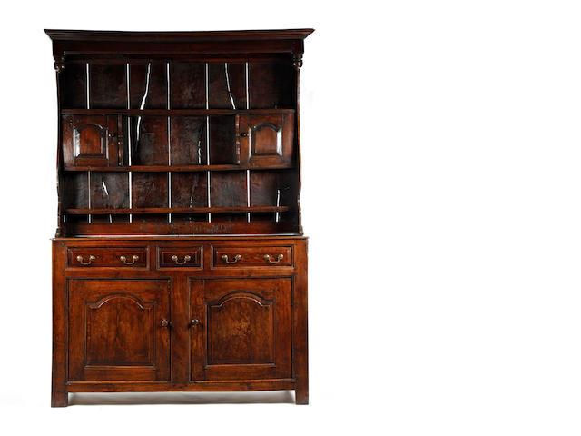 A rare mid-18th century oak canopy high dresser, Caenarfonshire  Circa 1730-50
