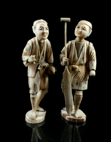 A group of Japanese carved and sectional ivory Okimono  Late Meiji Period