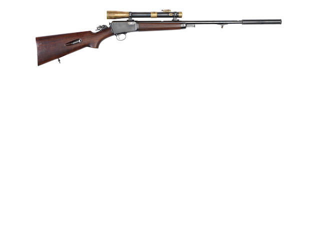A .22 (L.R.) 'Model 63' semi-automatic rifle by Winchester, no. 41123A In a William Evans canvas case, together with its original open-sights, muzzle thread-protector and a receipt from Charles Hellis dated 1947 for the rebluing