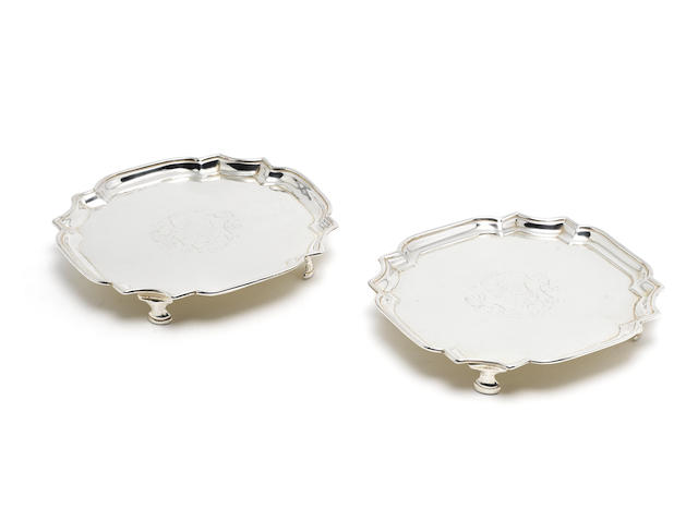 A pair of George II silver waiters / card trays by William Darker London 1729  (2)
