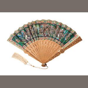 A rare 'Mandarin - One Hundred Faces' folding fan in lacquer case,