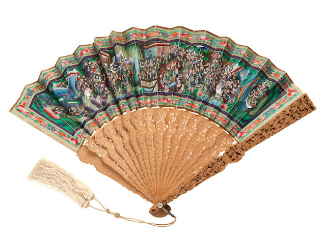 A rare Mandarin 'One Hundred Faces' folding fan in lacquer case,