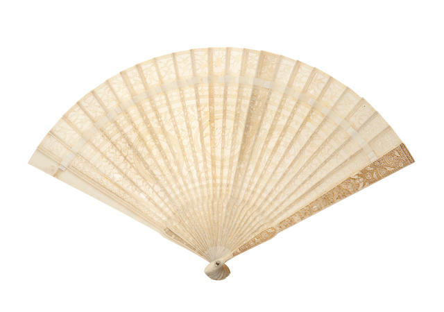 An ivory brisé fan  19th century