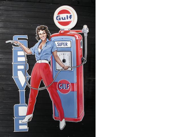 'Gulf Petrol Girl', a hand-painted garage display panel,