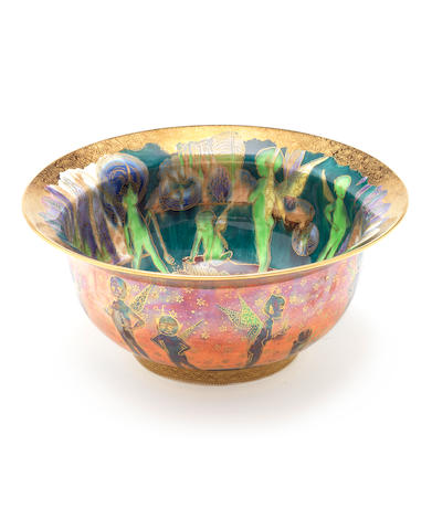 Daisy Makeig-Jones for Wedgwood  'Bubbles' a Rare Flame Fairyland Lustre K'ang Hsi Bowl, circa 1924