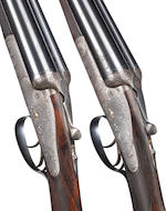 A pair of 12-bore backlock ejector guns by J. Blanch & Son, no. 5956/7 In a brass-mounted oak and leather case