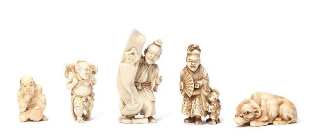 Five netsuke okimono 19th century