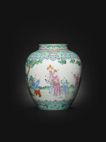 A famille rose turquoise-ground 'boys' vase Daoguang seal mark and of the period