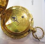 Benjamin Lautier, Bath. An 18ct gold key wind calendar open face pocket watch Movement No.290, London Hallmark for 1820