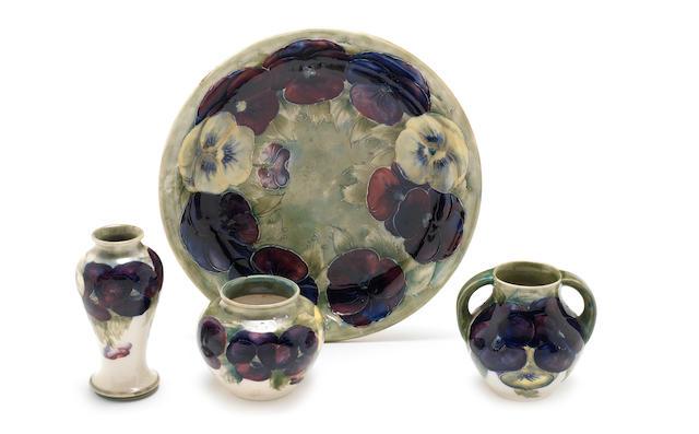 William Moorcroft 'Pansy' a Small Vase, circa 1916