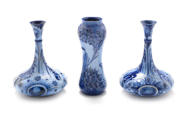 William Moorcroft  'Peacock Feathers' a Pair of Florian Vases, circa 1903