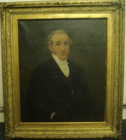 English School, mid 19th Century Half length portrait study of a gentleman in a blacksuit with white wing collar shirt and tie, 75 x 62cm.