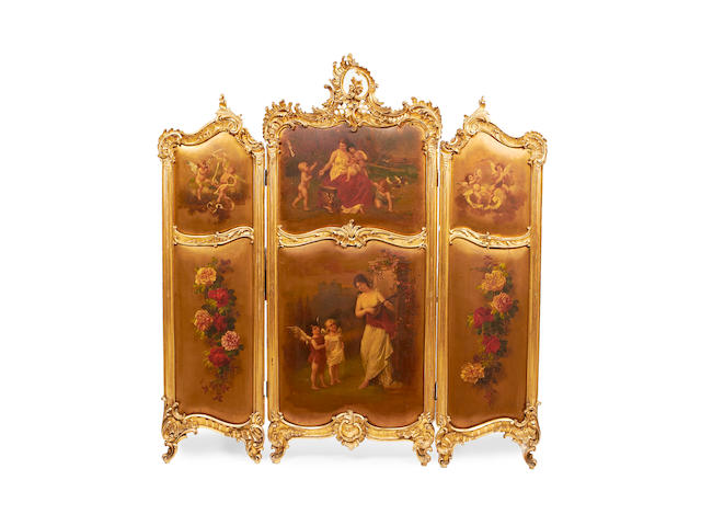 A French late 19th/early 20th century giltwood and Vernis Martin three-panel screen in the Louis XV style