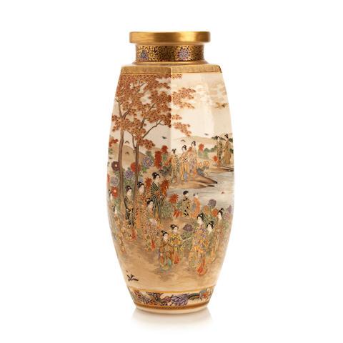 A Satsuma vase By Kizan, Meiji