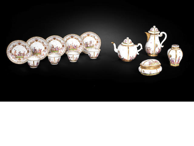 A very rare Meissen part tea and coffee service, circa 1725