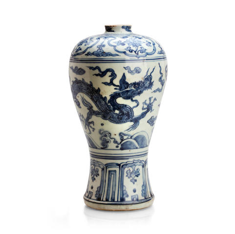 A blue and white vase, meiping 16th century, probably Zhengde