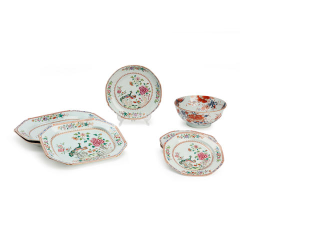 A part service of famille rose 'double peacock' pattern dishes 18th century