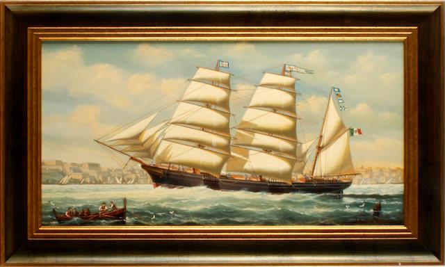 Salvatore Colacicco (British/Italian, 1935) Schooner off Malta