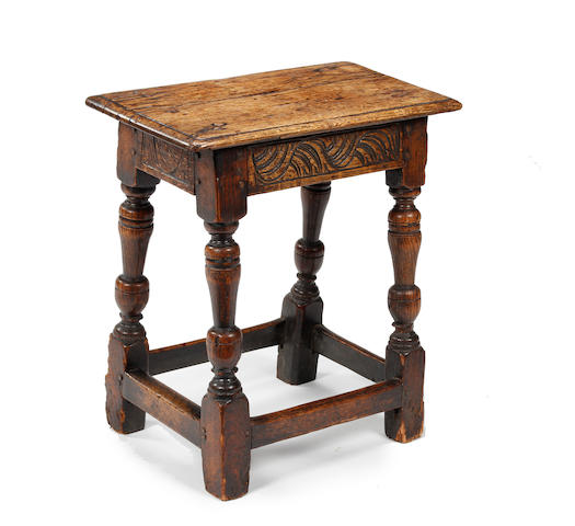 An elm and oak joint stool Mid-17th century and later