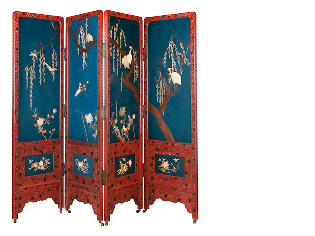 A lacquer four-fold screen Meiji