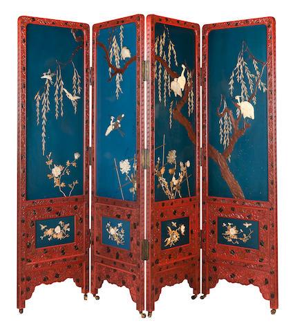 A lacquer four-fold screen Meiji