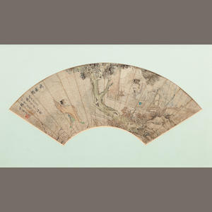 A hand painted fan leaf Dated by inscription, 1883, by Wu Ying