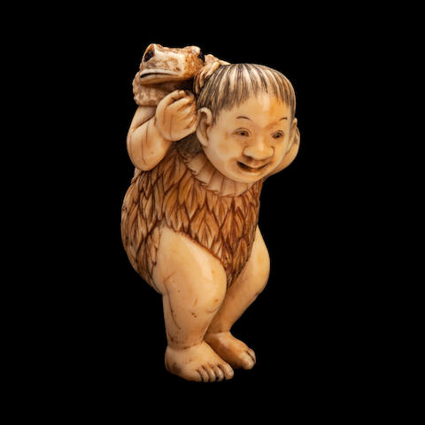 An ivory netsuke of Gama Sennin By Hidemasa, Meiji