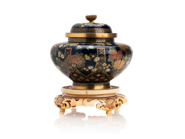 A cloisonné jar and cover with ivory stand By Kyoto Namikawa, Meiji