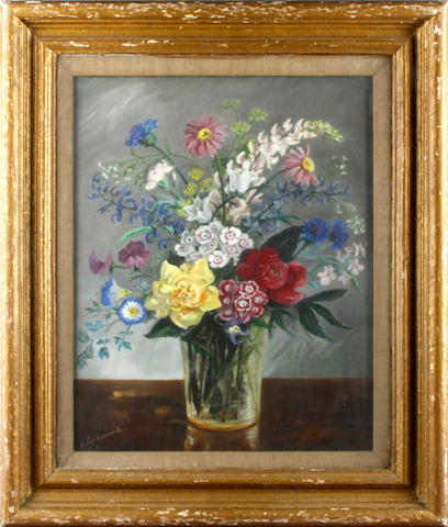 English School, 20th Century Still life with country flowers