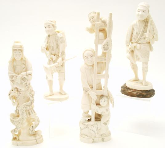 Two ivory and two marine ivory okimono Meiji/Taisho