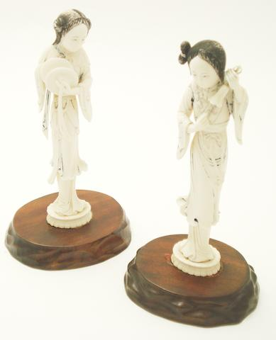 Two female ivory musicians Early 20th century