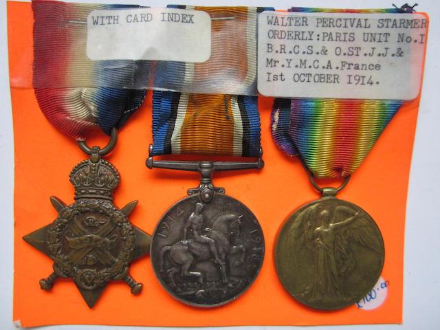 Three to W.P.Starmer, British Red Cross Society and Order of St.John of Jerusalem,