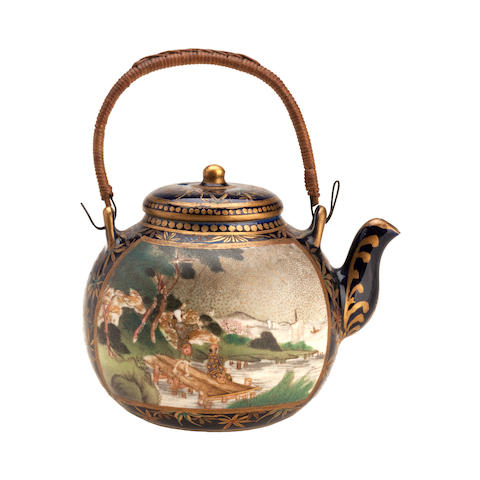 A miniature Satsuma teapot and cover Meiji