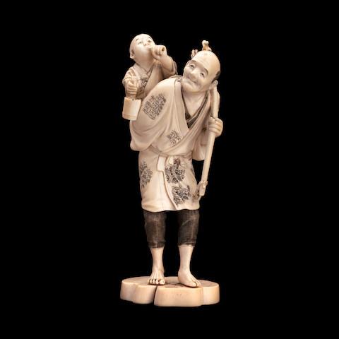 An ivory figure group  By Yoshimasa, Meiji
