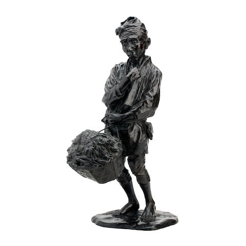 A large bronze model of a peasant Meiji