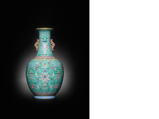 A famille rose turquoise-ground vase Daoguang seal mark and of the period
