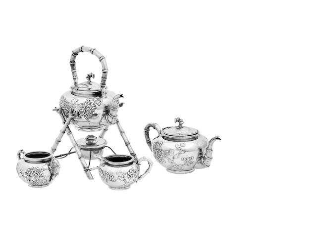 A four piece silver tea service by Wang Hing Marked 90, WH and Chinese characters