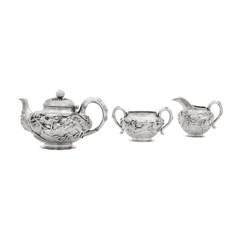 A silver three piece teaset Circa 1900