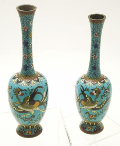 A pair of cloisonné bottle vases Meiji