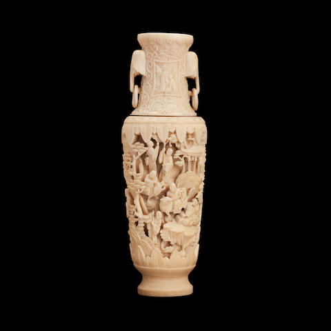 A Canton export ivory vase 19th century