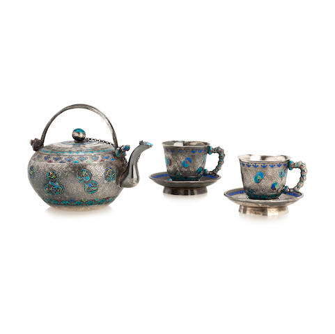 A silver and enamel tea for two set  19th century