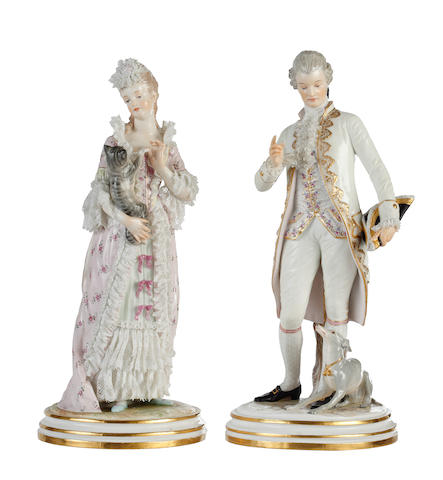 A pair of Meissen figures of a gallant and companion, late 19th century