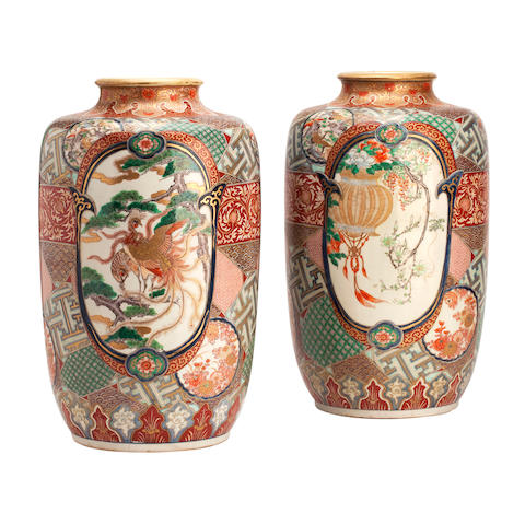 A pair of Imari cylindrical vases Meiji
