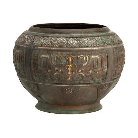 An inlaid ceremonial bronze vessel Possibly Ming