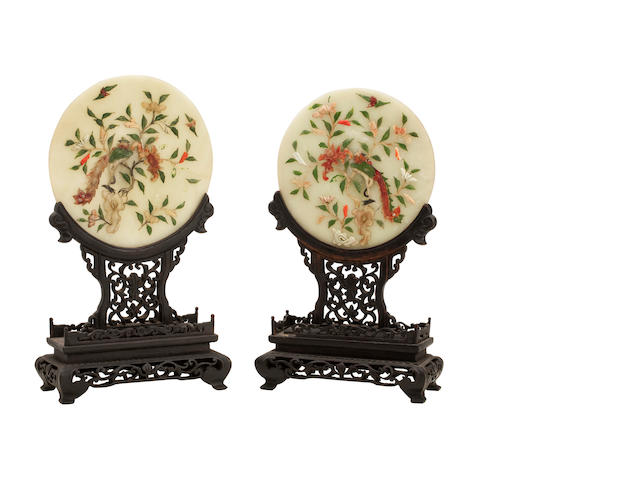 A pair of jade inlaid screens 19th century
