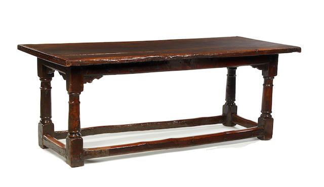 A mid-17th century oak refectory table