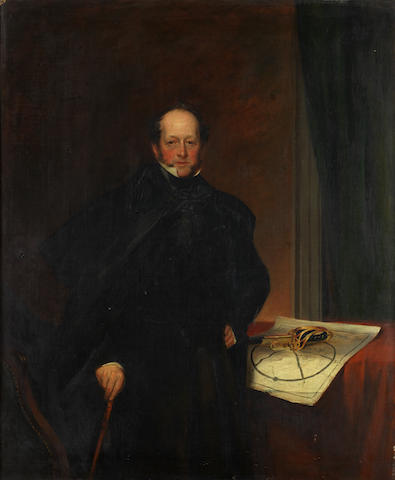 English School, circa 1840 Portrait of a gentleman, three-quarter-length, in black costume